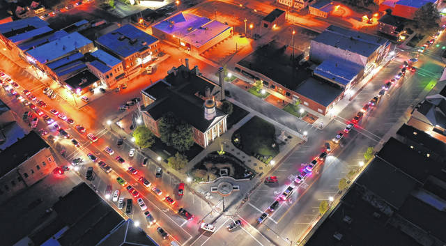 This drone photo captured Saturday night by Wesley Miller shows the center of Hillsboro as vehicles from multiple communities took part in a cruise-in that organizers hope to make a monthly event.