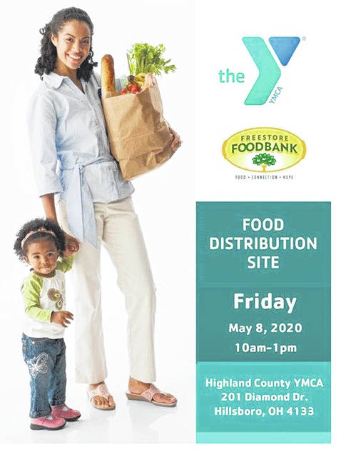 This is a copy of the flyer the Highland County YMCA sent out promoting a food giveaway it is hosting from 10 a.m. to 1 p.m. Friday.