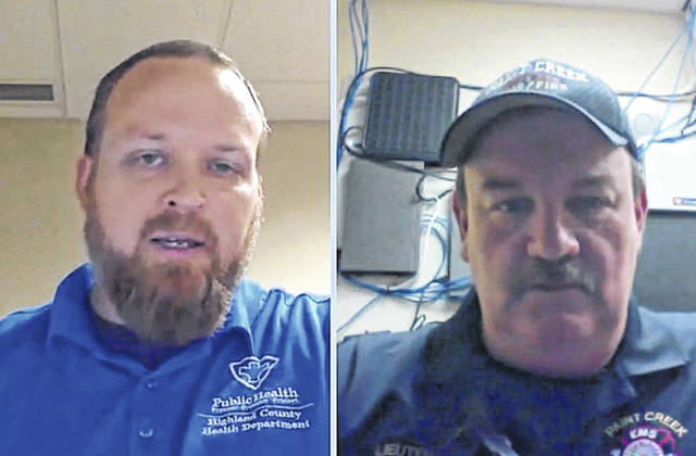 Highland County Health Commissioner Jared Warner, left, and Emergency Operations Center Public Information Officer Branden Jackman responded to questions during Thursday's Facebook Live session.