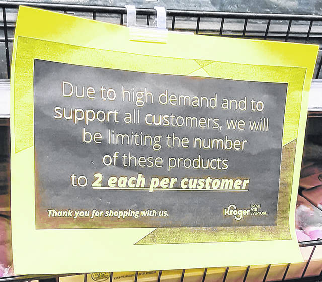 Signs such as this one at the Hillsboro Kroger have been posted at other area Kroger stores in an attempt to head off potential meat shortages.