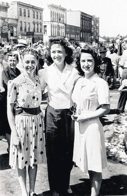 From left, Clara Elizabeth Ayres Duckworth, Lois Jean Roberts of Mowrystown and Betty Jane Bohl are pictured in 1945 as they celebrate VE Day in Hillsboro. The three were former Hillsboro High School classmates and lifelong friends.