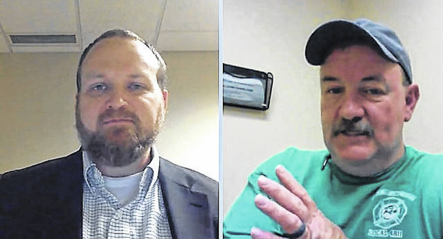 Highland County Health Commissioner Jared Warner, left, and Highland County Emergency Operations Center Public Information Officer Branden Jackman are shown in a screenshot during Thursday's Facebook Live news conference.