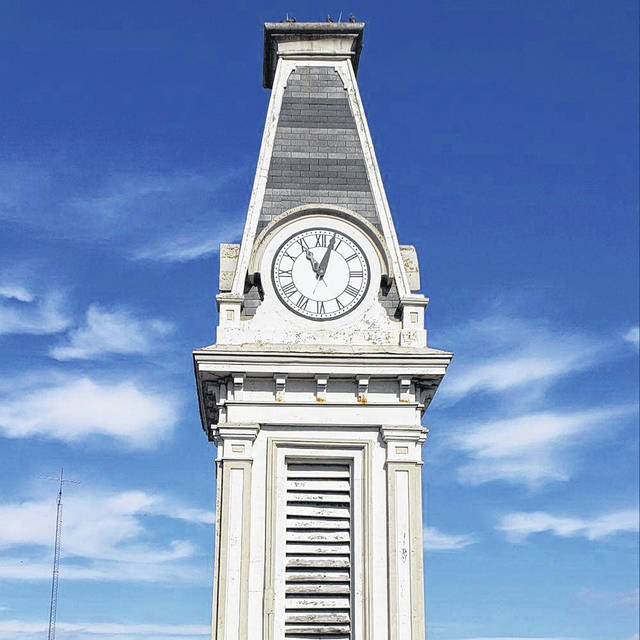 The clock tower atop the Greenfield City Building is pictured. It is about to have a much-needed renovation with the help of community support.