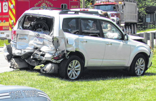 This Subaru SUV sustained moderate damage following Thursday's three-vehicle crash on U.S. Route 50 at the intersection of Mad River Road in Hoagland.