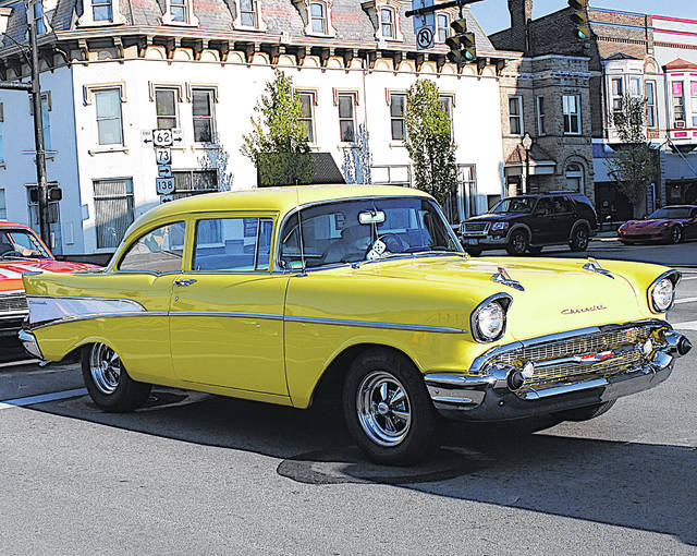 A classic Chevrolet cruises through Hillsboro last month during the inaugural Rock the Block in the 'Boro event.