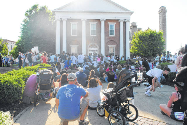 In a scene from Hillsboro's first Black Lives Matter demonstration on June 5, protesters gather in front of the courthouse as community members share their thoughts and stories.