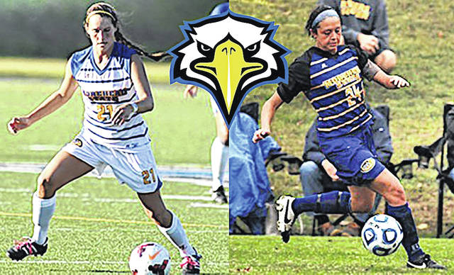 Shown during their days playing soccer at Morehead State University are Kristi Gomez, left, and Karen Hilt, a 2012 Lynchburg-Clay High School graduate.