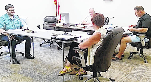 Greenfield Council members, from left, Kyle Barr, Phil Clyburn, Brenda Losey and Mark Branham are pictured in this screen shot from Tuesday's meeting.