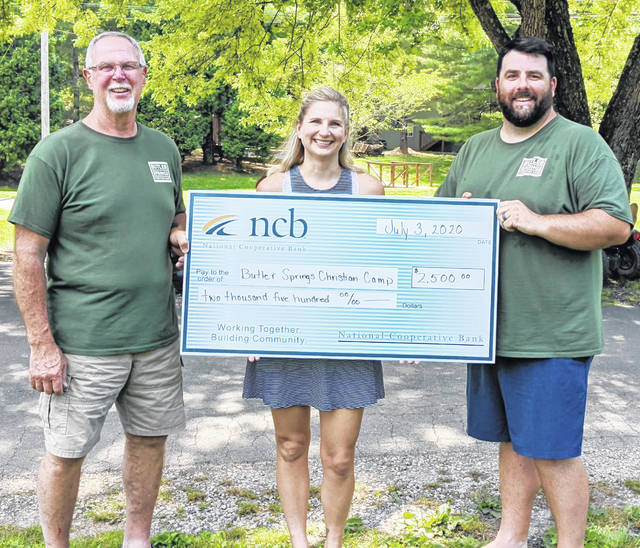 NCB recently made a $2,500 donation to support the Butler Springs Christian Camp & Retreat Center. Pictured (from left) are Keith Warner, camp director; NCB's Mary Alice Hartley; and Butler Springs Retreat Coordinator Chris Osborne.