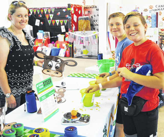 Horick twins Grady and Liam have fun at last year's 4-H Commodity Carnival with instructor Danielle Combs at the Highland County Fair.