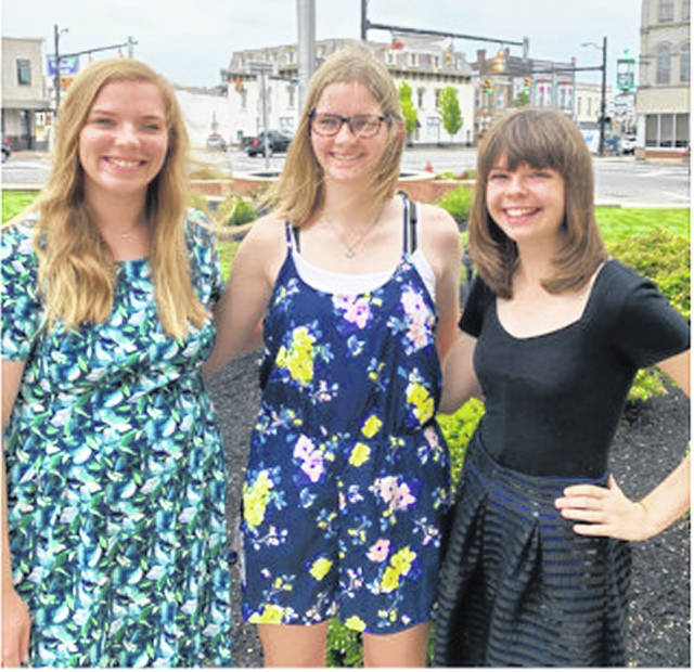 Pictured, from left, are Highland County Retired Teachers Association Scholarship winners Heather Parker, Sara Free and Ciara Colwell.
