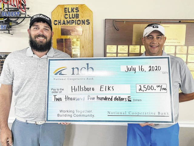 NCB recently made a $2,500 donation to support the Hillsboro Elks Post 361 Impact a Life Program. The program provides job training for high school students with disabilities. NCB's Steven Evans (left) presented the check to Phil Loudin, Elks president.