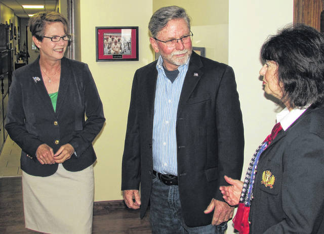 Shown (from left) are Ohio Supreme Court Justice Sharon Kennedy chatting with Mark Crowe of Crowe Financial Services and Highland County Republican Central Executive Committee Chair Paulette Donley.