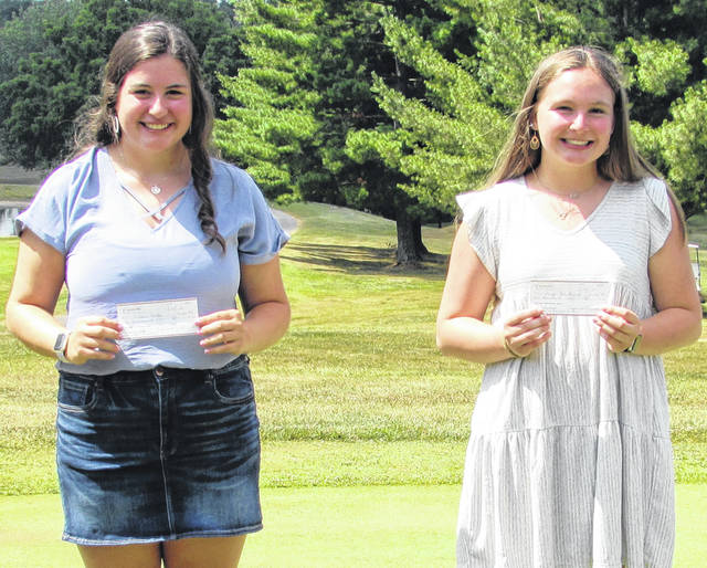 Shown from left, McClain's Natalie Rolfe and Hillsboro's Paige Howland were recipients of $1,000 scholarships each from the Hillsboro Jr. Women's Club.