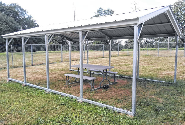 This is the new pavilion at the Highland County County Dog Pound that was purchased through a grant from the South Central Power Company Foundation.