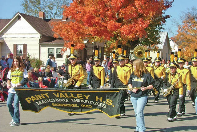 The Paint Valley High School Marching Band parades through town during a past Fall Festival of Leaves Parade in Bainbridge.