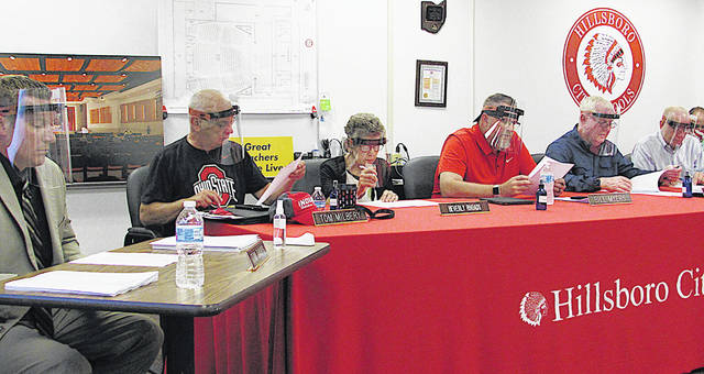 Hillsboro Superintendent Tim Davis (left) and school board members (from left) Tom Milbery, Beverly Rhoads, Bill Myers, Jerry Walker and Larry Lyons are pictured wearing face shields at Monday's board of education meeting.