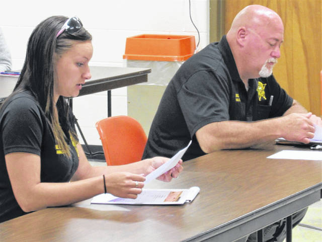 Highland County Animal Control Officers Macey Walker, left, and Lanny Brown II give a progress report on their work at the dog pound during Wednesday's county commissioners meeting.