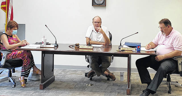 Greenfield Village Council members (l-r) Brenda Losey, Phil Clyburn and Mark Branham are pictured at Tuesday's regular meeting. Council members Eric Borsini and Kyle Barr were excused from the meeting.