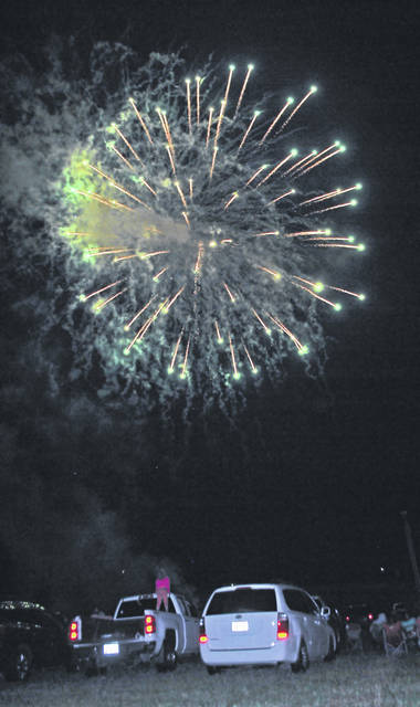 In a scene from 2018, fireworks light up the sky over the Highland County Fairgrounds.