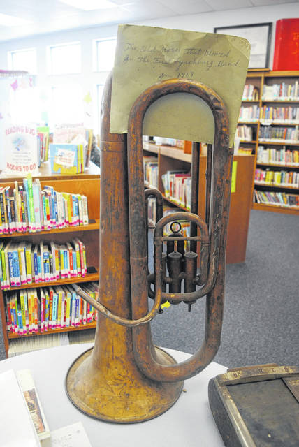"""After purchasing a Lynchburg building, Dusty and Monica Curry discovered an antique tuba, pictured, which was accompanied by a note that reads, """"The Old Storm That Blowed In The First Lynchburg Band. Jan. 1868."""""""
