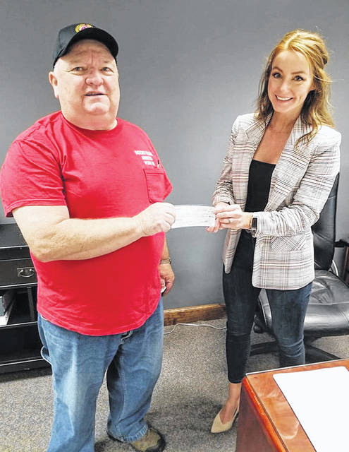 Local Amvets Post 61 recently donated $2,000 to the city of Hillsboro Park Project. The post challenged all veterans and social clubs to match its contribution. Pictured are Ken Gillespie, Amvets first vice commander, and Hillsboro Safety and Service Director Brianne Abbott.
