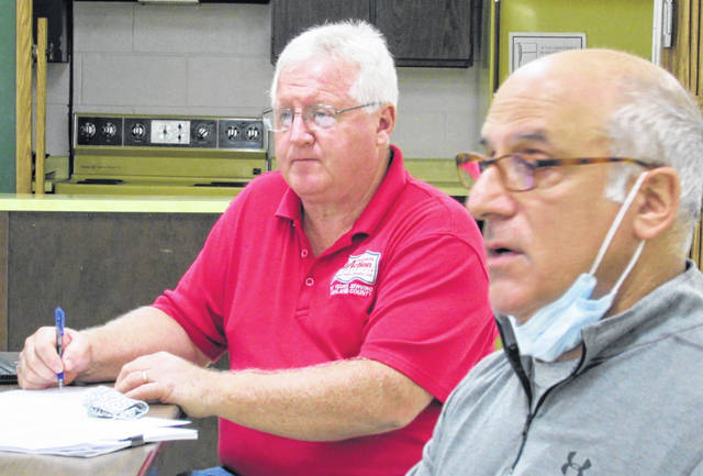 Shown are Highland County Community Action Organization Housing Director Mark Current (left) and Land Bank board member Charlie Guarino during discussions Thursday morning.