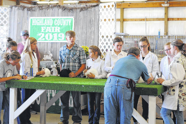 In a scene from the 2019 Highland County Fair, junior fair participants stand with their rabbits.