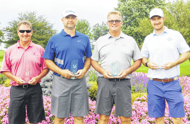 The Hillsboro Ponderosa team took first place at the 28th SATH Celebrity Golf Tournament. Pictured (from left) are team members Mark Dickey, Chris Fauber, John Holt and Chris Dickey.