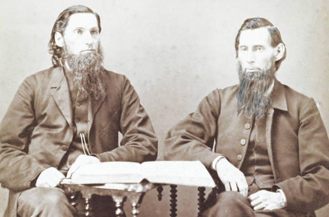 Brothers John Henry (left) and Robert Douglas hitched a white horse to a phaeton and traveled the area successfully seeking the support of Quakers for establishing a Friends-affiliated college in Wilmington.