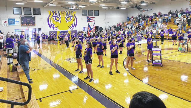 Members of the McClain Marching Band help get things started at this week's Greenfield Exempted Village School District opening day session.