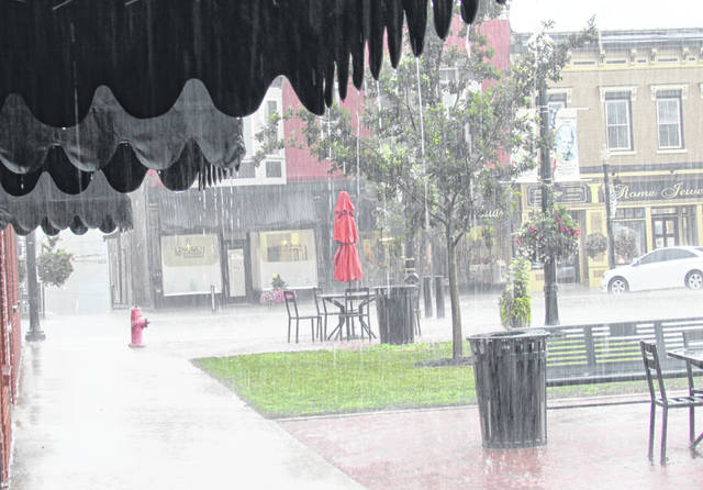 Thursday afternoon's pop-up thunderstorm, shown coming down here in front of The times-Gazette offices on Gov. Trimble Place, was a portent of what the region can expect throughout the day Friday, Friday night and into Saturday, according to the National Weather Service.