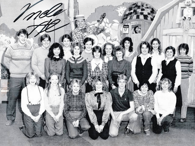 "This autographed photo, provided by former Hillsboro teacher Joan Winner, shows some of the Hillsboro students she took to ""The Uncle Al Show"" around 1983. Pictured (front row, l-r) are: Ann Craycraft, Tracy Harp, Dawn Barnhart, Tracy Fulton, Ted Carter, the bus driver, and Kathy Hersey; (back row, l-r) Chris Fuller, Chet Gregory, Linda Ryu, Tim McNeilan, Sharon Parker, Uncle Al, Vicki Storer, Jen Berwanger, Christine Holthouse, Kathy Flach, Tony Miller, Ann Gerding, Winner, and Cathy Fuchs."