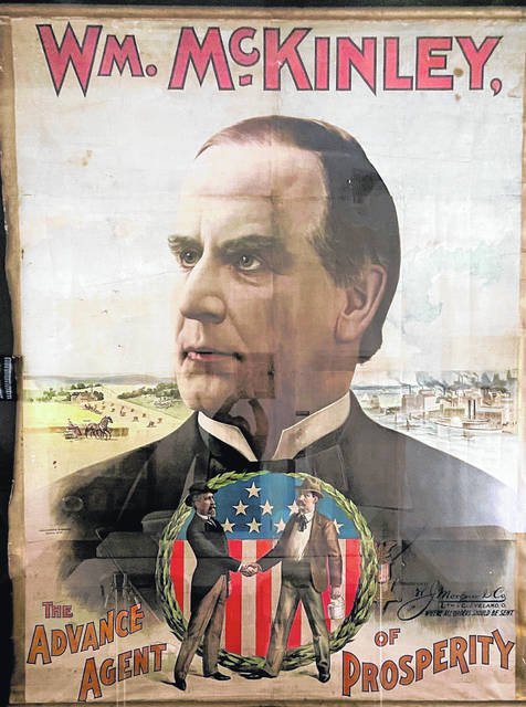 Originally hanging at Bell's Opera House since the 1896 presidential campaign, this 8-foot by 10-foot poster was donated to the McKinley Memorial Library by Carol Kutner, Linda Freedman and Connie Kean in honor of their parents, Si and Lenora Gordon. It was officially unvieled in the Clayman Community Room of the McKinley Birthplace Home and Research Center on Presidents' Day 2004.