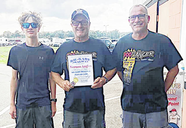 Hillsboro resident Vernon Angles was inducted into the Kil-Kare Raceway Hall of Fame on Aug. 22. Pictured, from left: Angles' grandson Lex, Angles, Angles' son Brent.