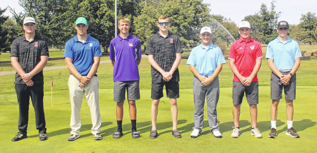 The top seven boys Frontier Athletic Conference golfers were named first-team all-conference and are pictured above, from left, Hillsboro's Gabe Mycroft, the FAC Golfer of the Year; J.T. Kobel, Chillicothe; Wes Potts, McClain; Lawton Parry, Hillsboro; Garrett Wahl, Washington; Ethan Rasp, Jackson and Brice Cartwright, Washington.