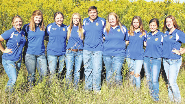 Pictured (from left) is the 2020-21 Hillsboro FFA Officer Team: Hannah Hopkins, Riley Stratton, Mallory Parsons, Kelcie Thornburgh, Ben Flora, Emma Hatfield, Gracie Isaacs, Jessica Howland and Zinny Adams. Not pictured is Clara Page.