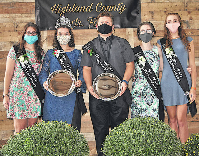 Sara Newsome and Ethan Cummings were crowned queen and king, respectively, Sunday at the 2020 Highland County. They are pictured above with their court (from left) Jenny Knope, Newsome, Cummings, Rachel Rudy and Catherine Knope. See Tuesday's print edition of The Times-Gazette for a full story and more photos.