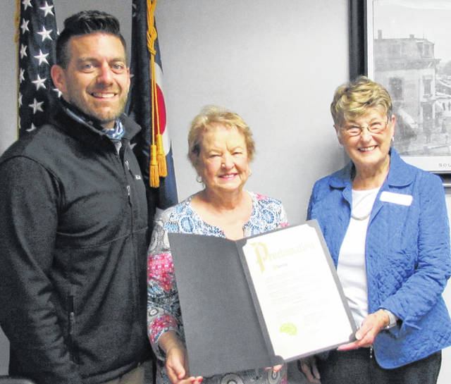 During a ceremony held in his office Tuesday morning, Hillsboro Mayor Justin Harsha issued a proclamation declaring the week of Sept. 17-23 as Constitution Week in the city of Hillsboro. Shown, from left, are Harsha, Highland House Museum Director and Daughters of the American Revolution member Vicki Knauff, and DAR Regent Jane Stowers. Stowers requested that everyone ring a bell at 4 p.m. Thursday, Sept. 17 to commemorate the signing of the U.S. Constitution. At 4 p.m. on Sept. 17, 1787, bells were rang following the signing of the foundational document in what is now known as Independence Hall in Philadelphia.