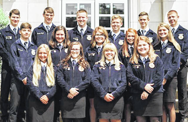 Each year the McClain FFA Chapter fills out a National Chapter Packet Application. After a lot of hard work by the 2019-20 McClain FFA Officer Team, the results are in. The McClain chapter was awarded a Three-Star Chapter Award. The chapter has been recognized by the National FFA for the award, the highest-ranking a chapter can receive. The program recognizes outstanding FFA chapters that actively implement the mission and strategies of the FFA. The McClain FFA improves events using the National Quality FFA Chapter Standards and a Program of Activities that emphasizes the qualities of growing leaders, building communities and strengthening agriculture. Chapters are rewarded for providing these experiences for all members. Pictured is last year's officer team in the summer of 2019 (front row, l-r) Holly Badgely, Taylor Harper, Abby Dhume, Mallory Faulconer; (second row, l-r) Jase Allison, Natalie Rolfe, Maysun Faulconer, Haley Hinkle, Abby Atkinson: (third row, l-r) Alex Snyder, Braden Wright, Justin Hall, Carter Campbell, Dakota Bartram and Wesley Potts.