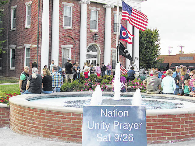 A crowd estimated at more than 200 people turned out Saturday in front of the Highland County Courthouse in Hillsboro for a National Unity Prayer event that mirrored The Return, also held Saturday on the National Mall in Washington, D.C. The Return is a movement set apart for one purpose — the return to God, that there be a coming before His presence in humility, in sincerity in prayer and repentance, that there be intercession for America, for each other, and for oneself, for God's mercy, for salvation, for healing, for revival, for restoration, and for the fulfillment of God's purposes for America and all who dwell within it. In Hillsboro, the event started at 6 p.m. and there was praying, preaching, singing and instrumental music.