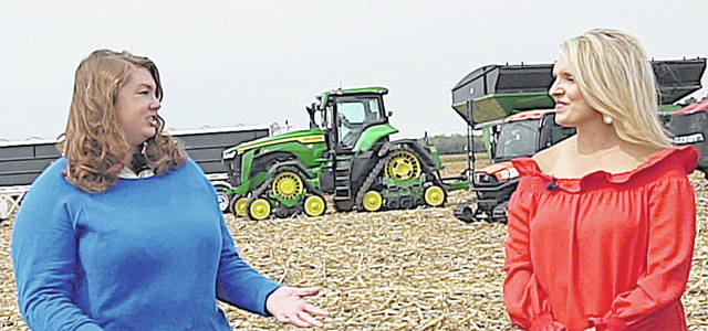 Highland County Extension Educator Dr. Brooke Beam (left) interviews Tyne Morgan, host of RFD-TV's U.S. Farm Report, at the Molly Caren Agricultural Center outside of London, Ohio. To see the interview, tune into the Southern Ohio Farm Show on Wednesday, Sept. 23.