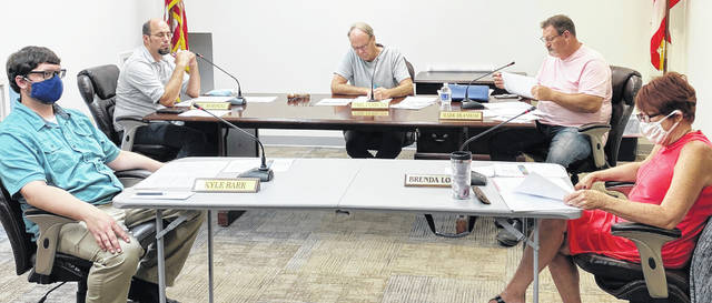 Greenfield Council members (from left) Kyle Barr, Eric Borsini, Phil Clyburn, Mark Branham and Brenda Losey are pictured at Tuesday's council meeting.