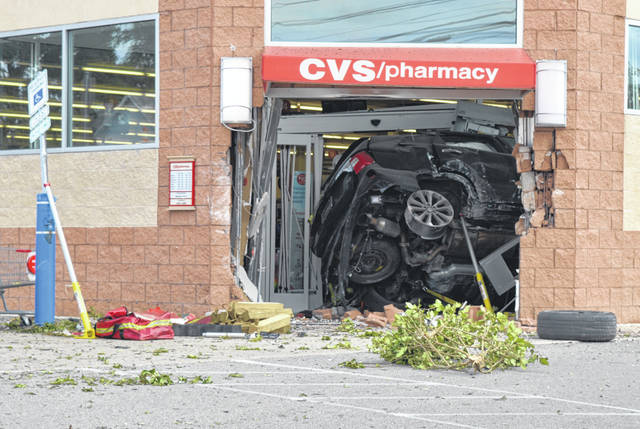 This SUV was crashed into the foyer of the downtown Wilmington CVS store.