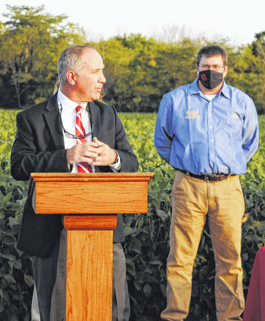 Fairfield Local Superintendent Tim Dettwiller encourages FFA students and advisors to take advantage of the district's new agronomy center. Pictured are Dettwiller (left) and Fairfield FFA Advisor Daniel Foster.