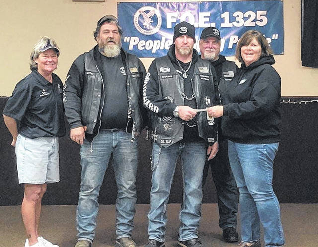 Earlier this year, the Greenfield chapter of the Independent Bikers Association (IBA) and Greenfield Eagles Post 1325 donated a total of $3,400 to the Highland County Community Action Organization Senior Nutrition Pprogram. Pictured, from left, Eagles Ladies' Auxiliary President Vette Highley, Greenfield IBA President Jeff Campbell, Jimmy Richardson, Jim Hodge, and HCCAO Director Julie Wise.