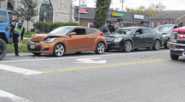 This four-vehicle accident Wednesday on North High Street in Hillsboro sent one female to the hospital.