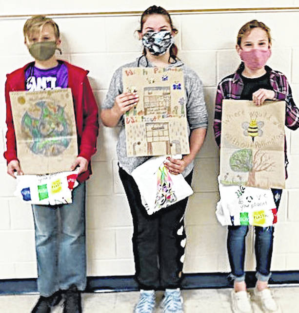 The SWCD Poster Contest winners from Bright Local Middle School (from left) were Preston Grosvenor, Meghan Thompson and Miley Joy Walker.