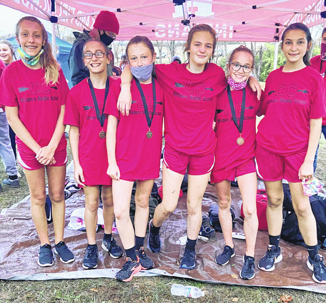 The Hillsboro Middle School girls cross country team is pictured Thursday after claiming the Frontier Athletic Conference championship (from left) Autumn Creek, Jailyn Williams, Taylor Thoroman, Olivia Covault, Kennedy Sexton and Allison Hendrix.