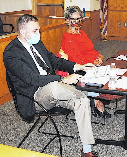 Hillsboro Auditor Alex Butler and council member Mary Stanforth are pictured at Tuesday's city council meeting in the Hillsboro Municipal Courtroom.